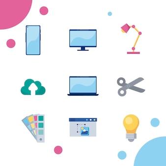 9 웹 디자인 아이콘 프리미엄 벡터