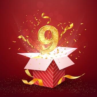 Девятилетний номер годовщины и открытая подарочная коробка с изолированным элементом дизайна взрывов конфетти