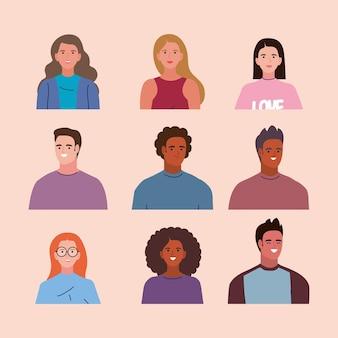 9人の若者のキャラクター