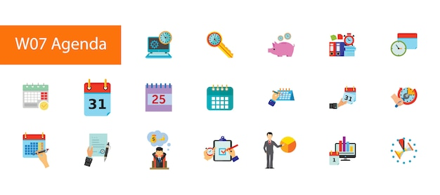 Nineteen agenda flat icons collection on white background.