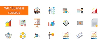 Nineteen busines strategy flat icons collection on white background.