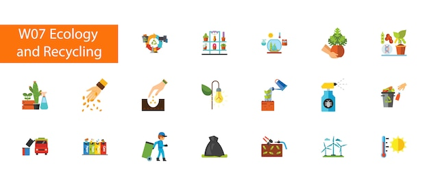 Nineteen ecology and recycling flat icons collection on white background.