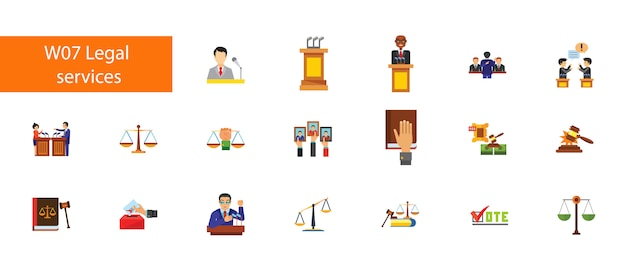 Nineteen legal service flat icons collection on white background.
