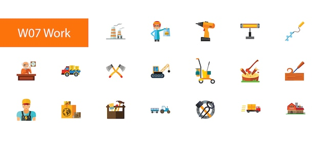 Nineteen manual work flat icons collection on white background.