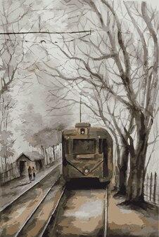 Акварельный поезд девятнадцатого века рисованной иллюстрации