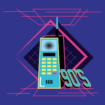 Nineties cell retro isolated icon