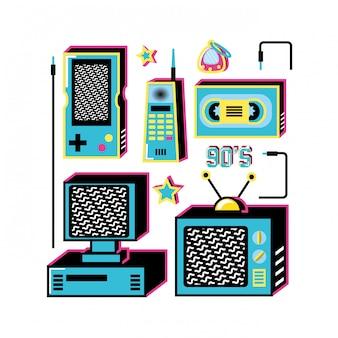 Nineties retro set icons
