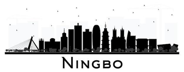 흰색 절연 검은 건물과 닝보 중국 도시의 스카이 라인. 벡터 일러스트 레이 션. 역사적인 건축과 비즈니스 여행 및 관광 개념입니다. 랜드마크가 있는 닝보 도시 풍경.
