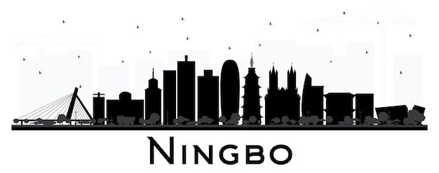 Ningbo china city skyline with black buildings isolated on white. vector illustration. business travel and tourism concept with historic architecture. ningbo cityscape with landmarks.