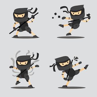 Ninja action character illustration