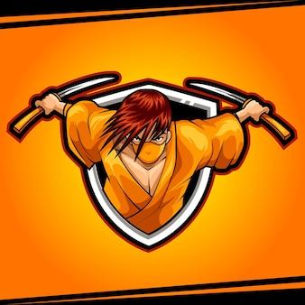 Ниндзя-убийца талисман для спорта и киберспорта логотип векторной иллюстрации