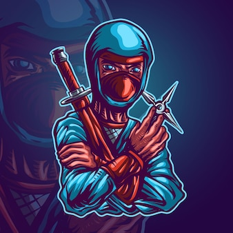 Ниндзя-убийца талисман векторные иллюстрации