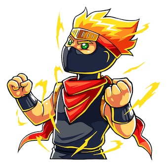 Ninja boy super power up.