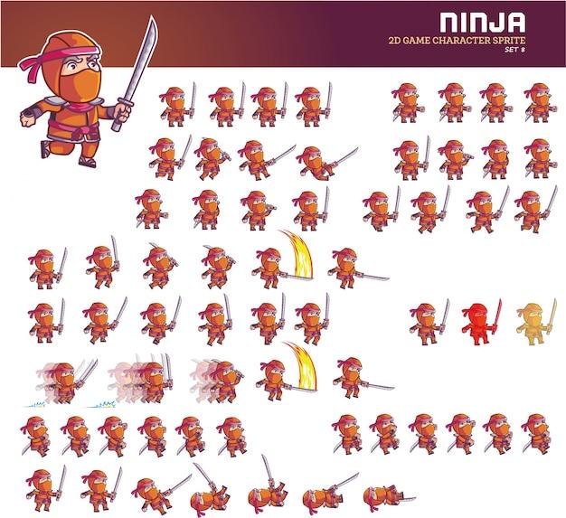 Анимированная анимация персонажа ниндзя