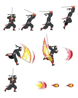 Ninja cartoon game анимация sprite
