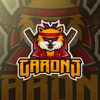 Шаблон логотипа кошки ниндзя