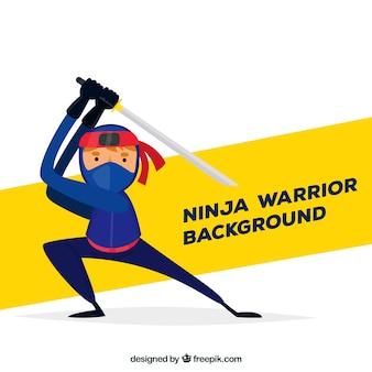 Sfondo personaggio ninja con design piatto