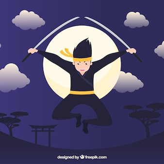 Ninja character background with flat design