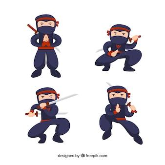 Collezione di personaggi ninja in diverse posture