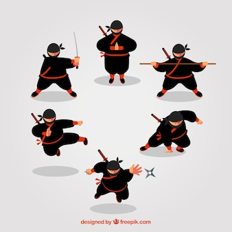 Ninja character collection of six