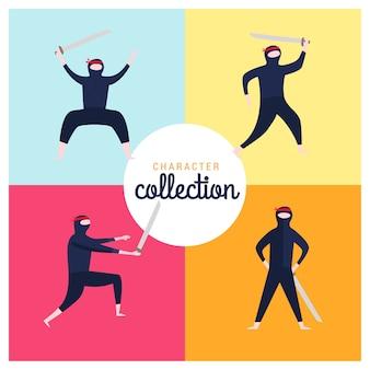 Коллекция персонажей ниндзя с плоским дизайном