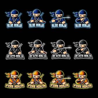Eスポーツのロゴの忍者キャラクター