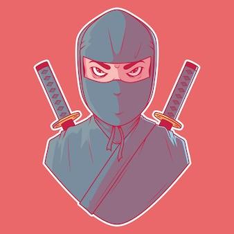 닌자 캐릭터 일러스트. 마스코트, 무술, 게이머 개념.