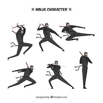 フラットデザインの異なるポーズの忍者キャラクター