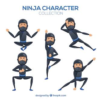 Персонаж ниндзя в разных позах с плоским дизайном