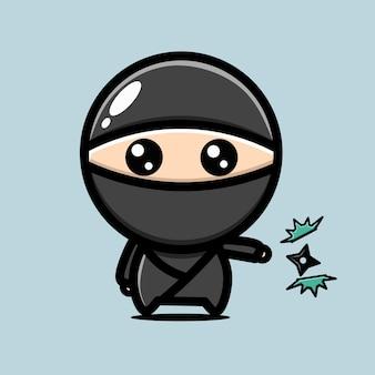 Персонаж ниндзя убивает вирус сюрикеном