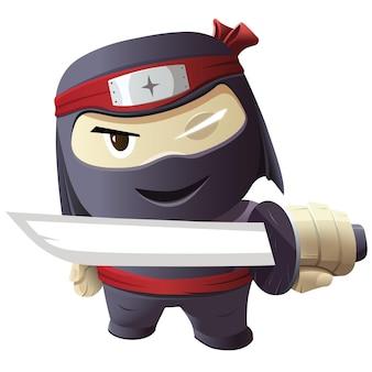 Персонаж ниндзя - серьезный ниндзя с мечом. векторная иллюстрация.