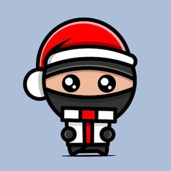 Персонаж ниндзя с рождественской шляпой и подарками