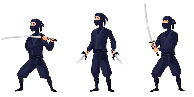 Ninja in different poses. japan character in cartoon style.