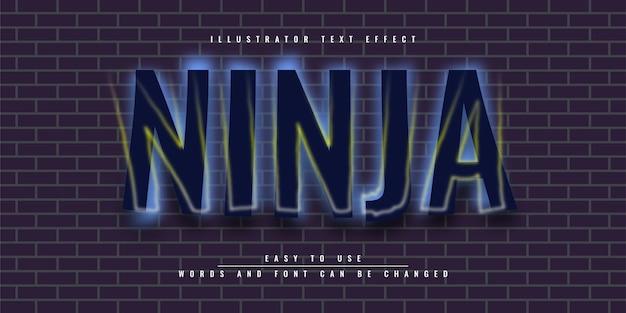 Дизайн шаблона иллюстрации с редактируемым текстовым эффектом ниндзя