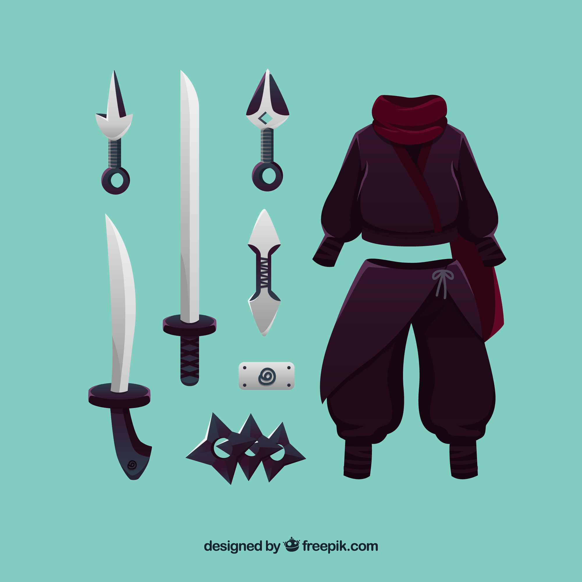 Ninja element collection with flat design