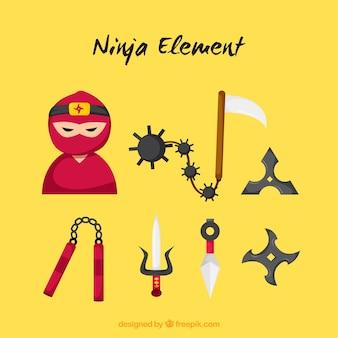 Collezione di elementi ninja in stile piatto