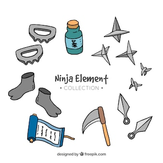 Ninja elements collection in hand drawn style