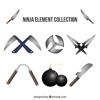 Ninja elements collection in realistic style