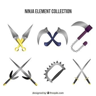 Collezione di elementi ninja in stile realistico