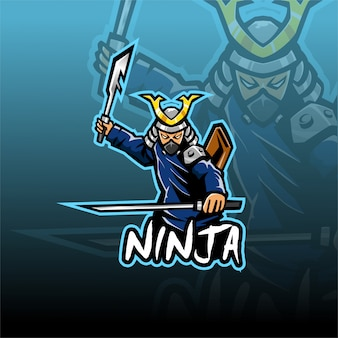 Шаблон логотипа талисмана ниндзя киберспорта