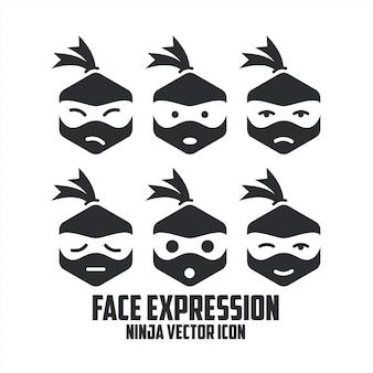 Ninja face expression vector icon