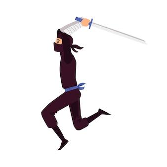 Персонаж истребителя ниндзя с плоской иллюстрацией японского меча