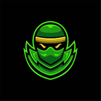 Ninja head cartoon logo template illustration. esport logo gaming premium vector