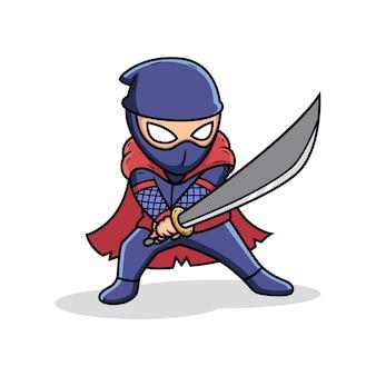 Ниндзя держит меч в боевой позе. мультяшный векторная иллюстрация, изолированных на премиум векторы