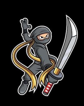 黒に分離された剣を持った忍者
