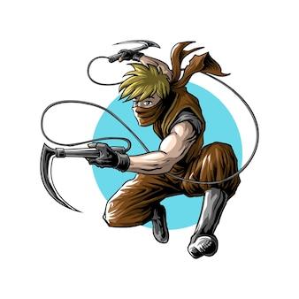 Атака ниндзя в прыжке с оружием