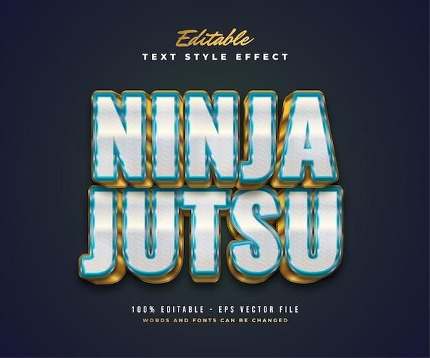 흰색, 파란색 및 금색의 Ninja Jutsu 텍스트 스타일과 엠보싱 및 질감 효과. 편집 가능한 텍스트 스타일 효과 프리미엄 벡터
