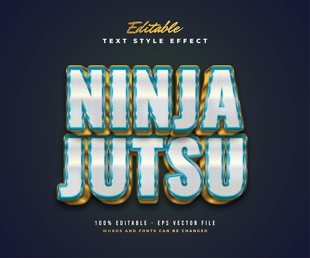 Ninja jutsu text style in white, blue and gold with embossed and textured effect. editable text style effect Premium Vector
