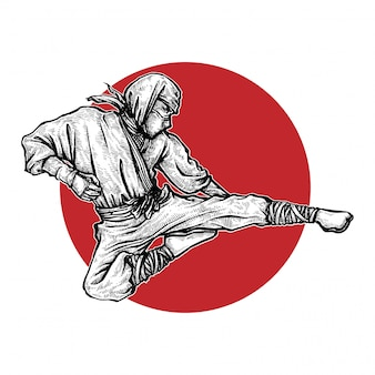 Ninja kick illustration