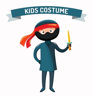 Ninja kid costume isolated vector illustration